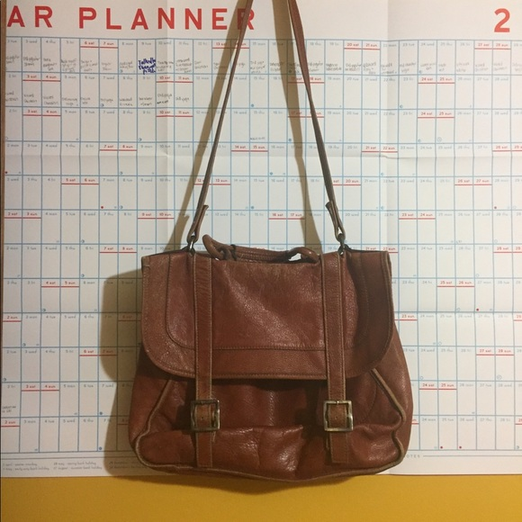 Vintage Handbags - Vintage Genuine Leather Schoolbag